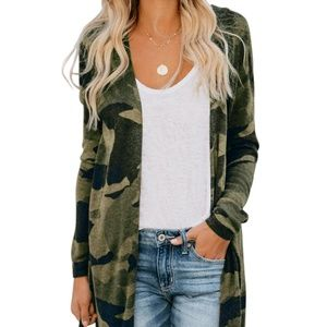 🐒 only 1 Left! 🐒Camo Green Duster Cardigan